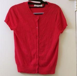 Loft short sleeve button up sweater Pink Small